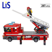 Lis DIY Building Nano blocks,best gifts children,model,Educational toys,aerial ladder truck,fire station series,98205,KAZI BLOCK