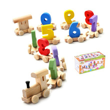 Baby Toy Wooden Digital Small Train Vehicle Blocks Eduactional Wooden Toy For children Birthday gifts Montessori toys(China)