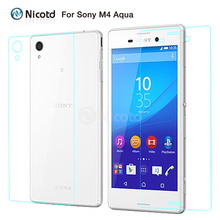 "2Pcs/Lot Explosion-proof Tempered Glass Front+Back For Sony Xperia M4 Aqua E2303 E2306 E2353 E2363 Dual 5"" Screen Protector Film"