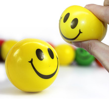 6pcs 7cm Diameter Colorful Elastic Smile Ball Soft PU Stress Ball Baby Funny Toys Outdoor Fun Sports Birthday Gift