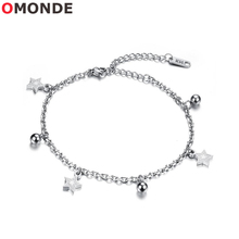 Buy OMONDE Silver Color Stainless Steel Link Chains Anklets Bracelet Women Gold Star Charms Summer Beach Elegant Jewelery for $6.97 in AliExpress store