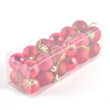 24pcs Plastic Christmas Decoration Ball Chic Baubles Hanging Xmas Ornaments Tree Decor Balls Wedding Party Decorations for Home