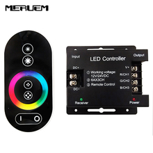 DC12-24V 18A RGB led controller touch screen RF remote control for led strip/bulb/downlight(China)