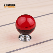 Hot sale Red Crystal Glass Ball Cupboard Door Drawer Knobs Diamond Shape Cabinet Drawer Kitchen Pull Handle Cabinet 30mm 10pcs