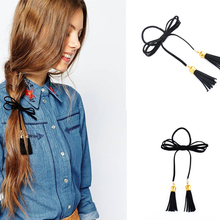 2017 fashion hair ring women trendy hair ornaments jewelry simple vintage velvet two tassel black hand hair rope accessories