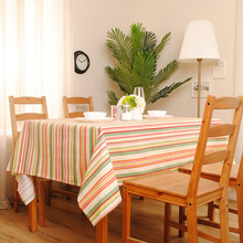 Home Decoration Rainbow Series Colorful Striped Tablecloth tea Table Cover  Cotton Table Cloth Accept customized