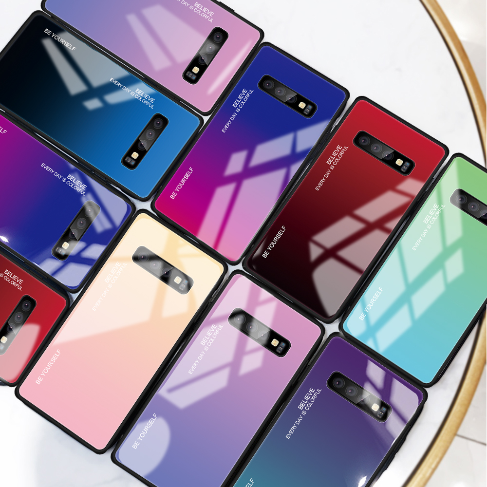 Gradient Tempered Glass Case For Samsung Galaxy S10 Lite S8 S9 Plus Note 8 9 J4 J6 Plus J8 A5 2017 A7 A6 A8 A9 2018 Cover Coque