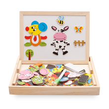 Baby toys Multifunctional Educational Farm Jungle Animal Wooden Magnetic Puzzle Children Kids Jigsaw Drawing Board Montessori