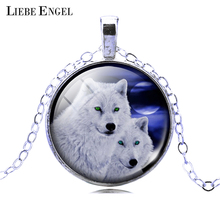 LIEBE ENGEL Silver Color Pendant Necklace Vintage Teen Wolf Picture Glass Cabochon Statement Chain Necklace Summer Style Jewelry