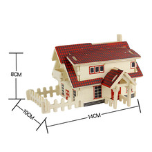 European House 3D Jigsaw Puzzle Toys Wooden Adult Children's Intelligence Development Toys Model Building Kits Krystal