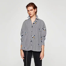 A0904F9 autumn new Europe and the United States with 8288 # crane embroidery striped shirt(China)