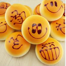 1PCS New Fashion Cute Smiley Face Bread Squishy Key Ring Bread Mobile Phone Strap Charm Phone Bag Pendant 4 CM