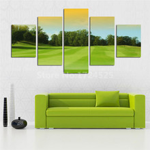 Time Limited Art Design Wallpaper 5 Panel Green Grassland Tree Painting HD Landscape Picture Home Decor Living Room Unframd(China)