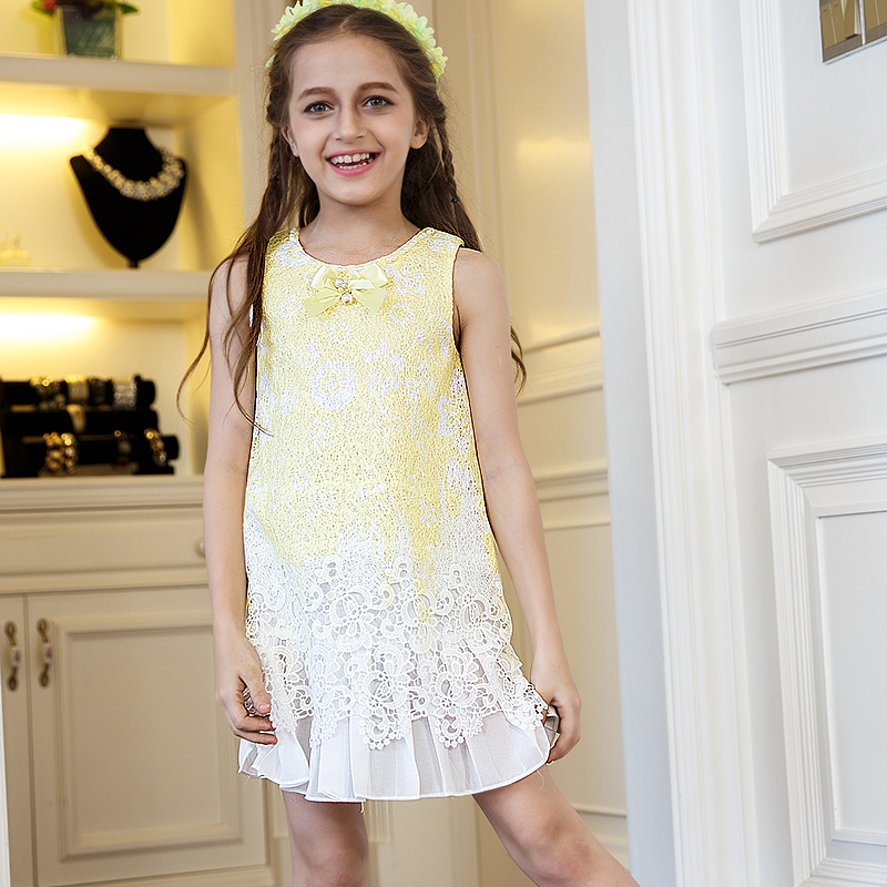 Nimble Princess Lace Summer Dress For Girls Casual Knee-Length  O-neck Sleeveless Summer Cloth <br><br>Aliexpress