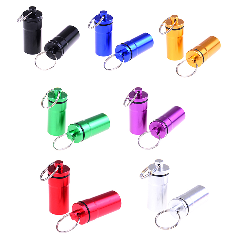 2019NEW 2Pcs Waterproof Aluminum Pill Box Portable Mini Pill Container Bottle Storage Case Keychain High Quality