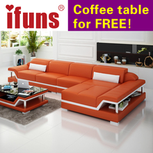 IFUNS  chaise sofa set living home furniture modern design genuine leather sectional sofa l shape corner China exprot