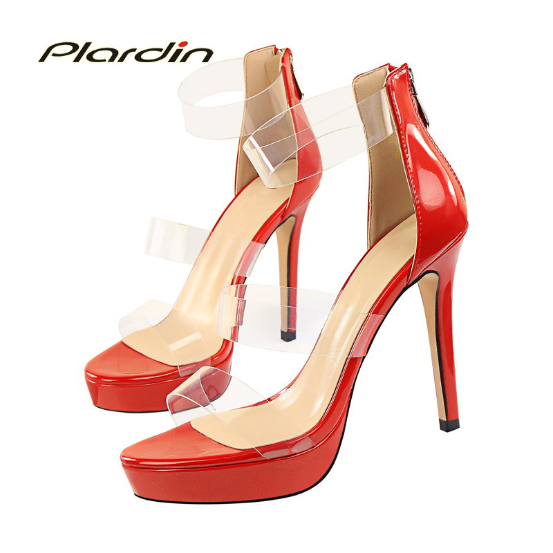 plardin New Summer Shoes Woman Zipper Ankle Strap Platform women Buckle Strap Fashion Casual Concise Thin Heels womens pumps<br>