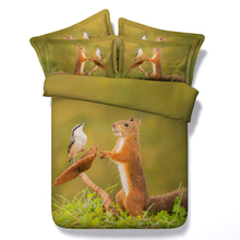 Dog/squirrel/owl 3d animal 4pcs bedding set without filling twin/full/queen/king/super king size home textile free shipping(China)