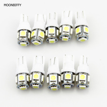 MOONBIFFY 10Pcs/lot T10 5050 5SMD LED White Light Car Side Wedge Tail Light Lamp Bright