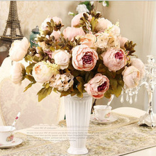 1Bunch European Artificial Flowers Round core Peony Bouquet Fake Plant Party Wedding Home Decorative Autumn Style