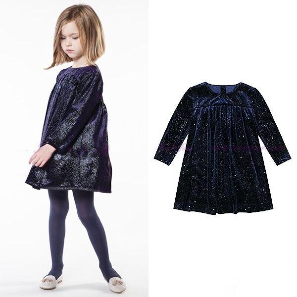 Girls dress Autumn and winter new childrens full rhinestone velvet high chest line childrens long-sleeved doll princess dress<br>