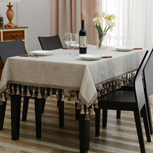 Nostalgic Retro Embroidered Table Cloth Luxury Jacquard Solid Tablecloth Tassel Toalha De Mesa Royal Linen Dinning Table Covers(China)