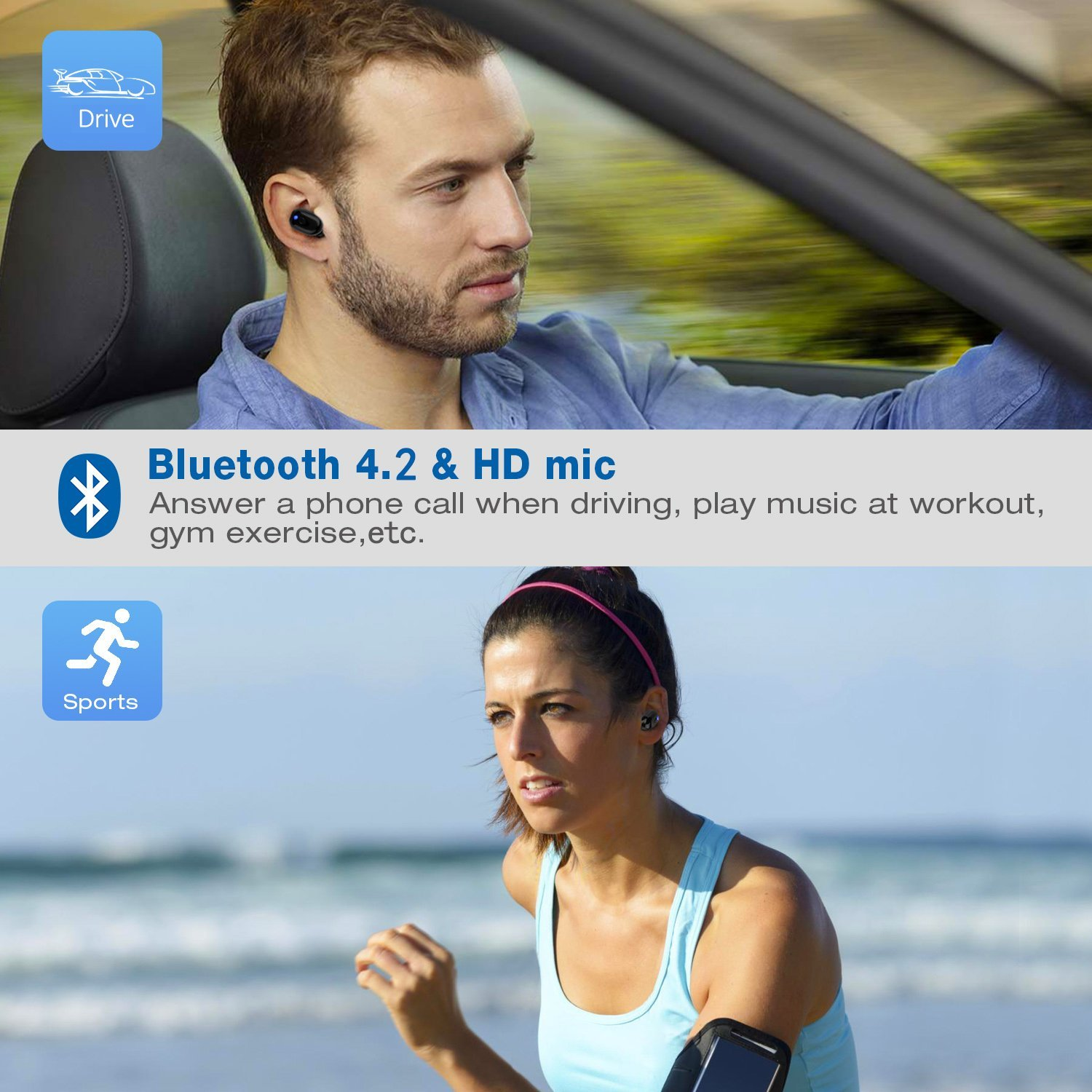 Bluetooth Mini Earbud Headphone Wireless Waterproof Sport Comfortable Earphone Mic Fit for iPhone Android Running Cycling(1 Pc)