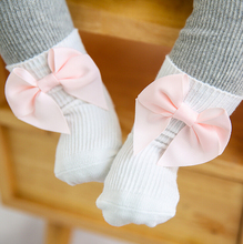 New infant baby socks sweet butterfly bow kids girls floor socks for children best gift(China)