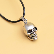 Skull Necklace - Hot Sale Skull Pendant Zinc Alloy Necklaces  Pendants Black Leather Chain Skull Pendant Silver Necklace#19074