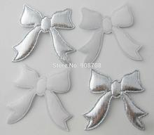 45mm*50mm silver bowknot felt appliques 100pcs garment accessories DIY decorative ornaments
