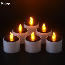 Kitop 6pcs Yellow Flicker Solar Power LED Light Candles Nightlight  flameless Electronic Solar Panel Lamp for Party Wedding