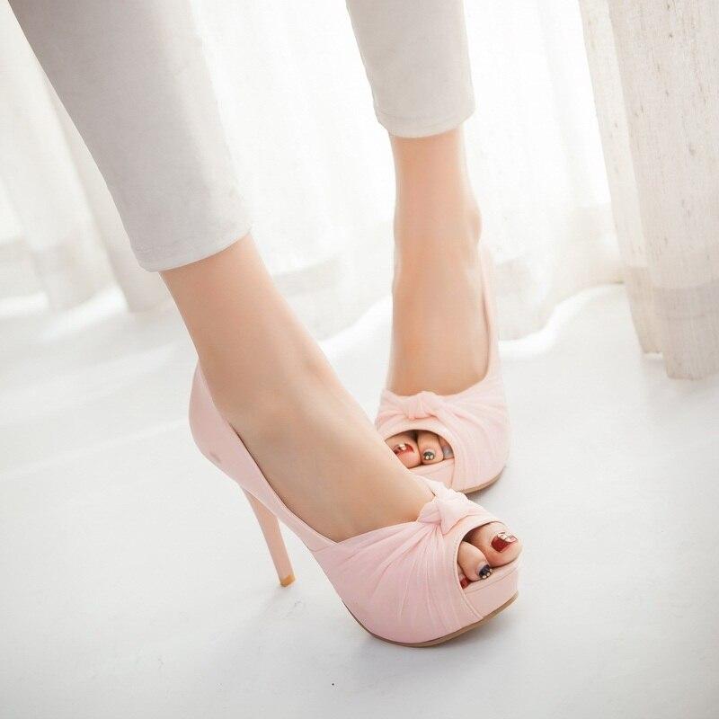 MORAZORA Hot sale new shoes woman pumps big size 33-43 platform shoes high heel 12cm wedding shoes elegant peep toe 2