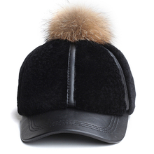 JA970 LUXURY 2017 Winter Unique Genuine Leather Cashmere Raccon Fur Ball Baseball Caps For Women Girl One Piece Snapback Hats(China)