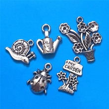 MIXED 30pcs Antique Silver Plated I Love Garden Charm Collection Charms Pendants DIY Jewelry Accessories(China)
