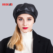0926XB Fashion Felt Pu Leather Beret Hat Women Cap Female Ladies Beanie Beret Girls For Spring And Autumn XB-D602(China)