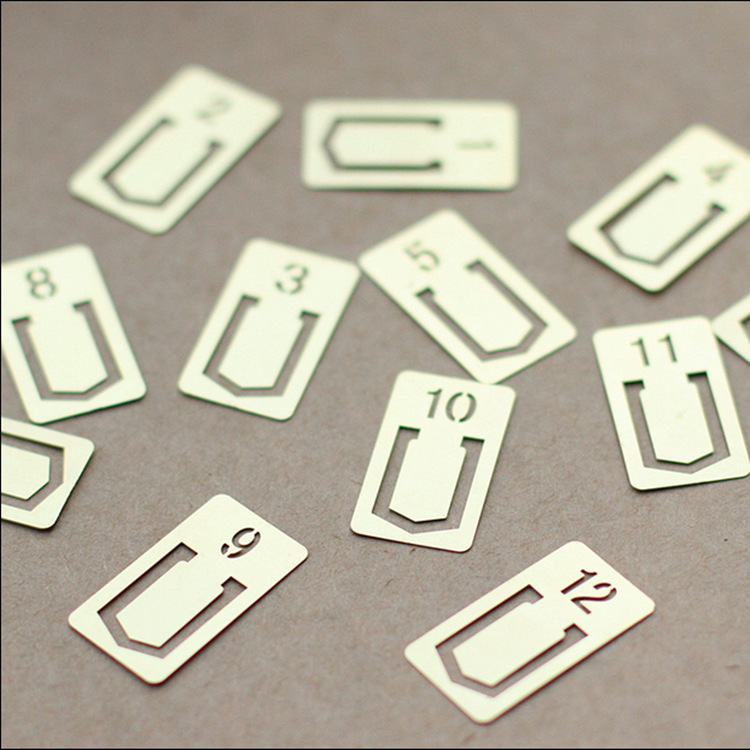 12 PCS/LOT Metal digital Bookmark Digital Clips Creative Number Bookmarks(China (Mainland))
