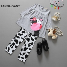 TANGUOANT hot sale spring and autumn baby girl clothes casual long-sleeve T-shirt+Pants suit Tracksuit the cow suit of the girls