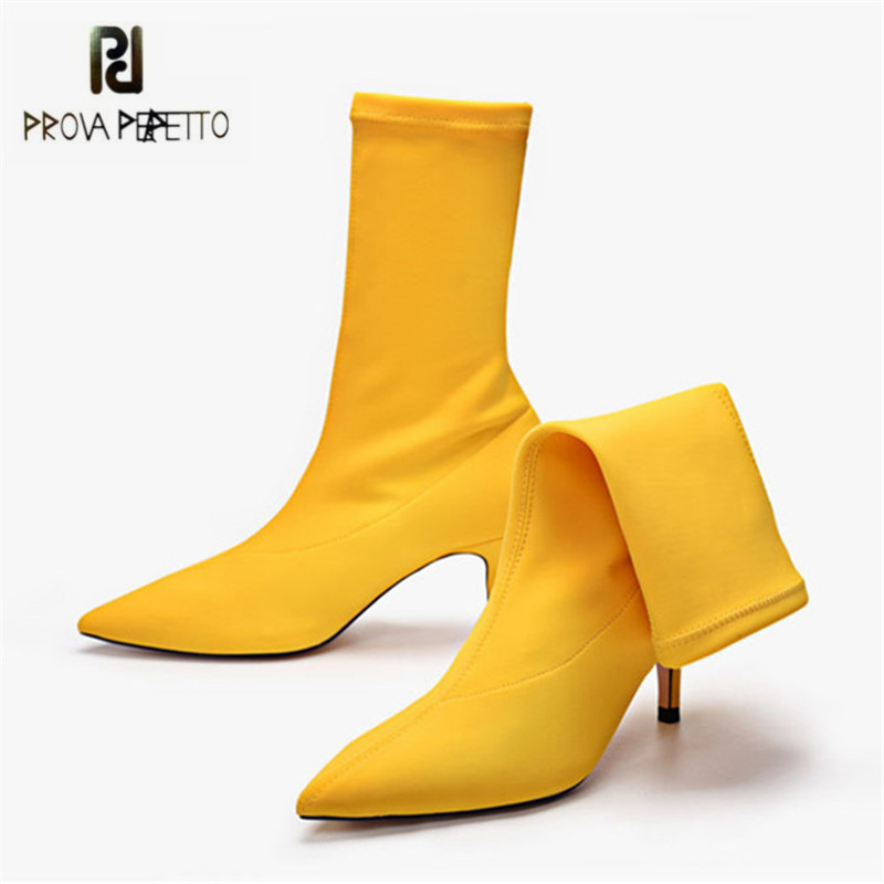 Prova Perfetto 2018 New Women Sock Boots Pointed Toe Elastic High Boots Slip On High Heel Ankle Boots Women Pumps Stiletto Botas<br>