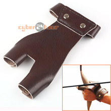 New Cow Leather Archery Hunting Hand Protector 2 Finger Brown Glove Shooting Guard(China)