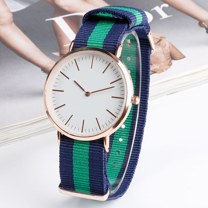 Blue And Green Stripe Nylon Band Strap Modern Korea Style Ourdoor Quartz Wrist Watch Fashion Minimalist Student Boy Gift<br><br>Aliexpress