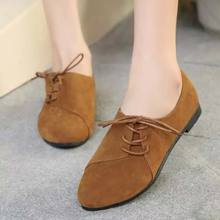 2016 Hot Selling summer Casual Women Shoes Women Nubuck Leather lace-Up Flat Shoes Handsome Head Toe Shoes