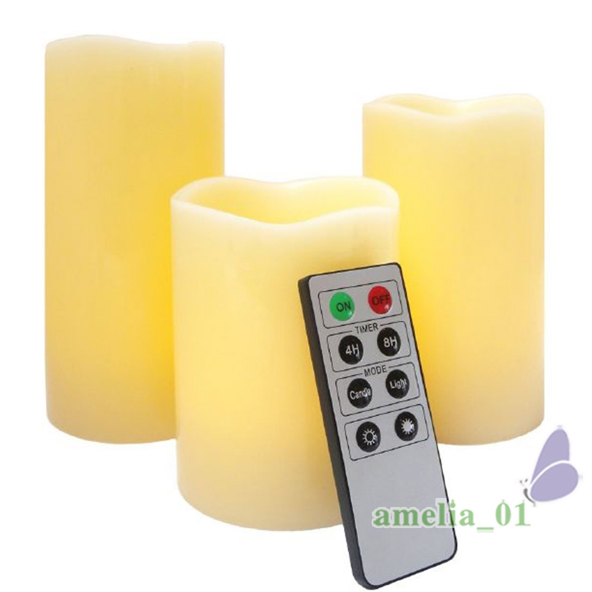 3pcs Decorative Led Remote Control Electronic Wick Flame Wax Pillar Candles Battery Operated Candle Light In From Home Garden On
