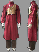 Men's Naruto Gaara Cosplay Costume Shippuden manga Jujube red Version Include Long Coat+Pants+Vest+Tape