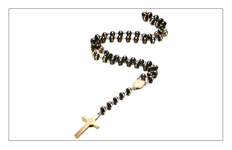 Meaeguet BlackGold Color Long Rosary Necklace For Men Women Stainless Steel Bead Chain Cross Pendant Women\`s Men\`s Gift Jewelry (4)