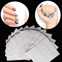 12Style Nail Art Hollow Stencil Guide Stickers Set Gel Polish French Smile Image Transfer Foil Strip Template Form 3D DIY Decals(China)