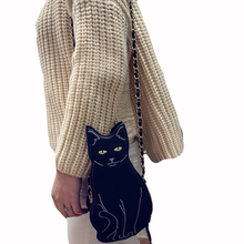 Cute Black Cat Shape Shoulder Bags Women Mobile Phone purse Fashion Small Change Purse girl Mini chain cross body Messenger Bag