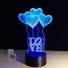 3D LED  Illusion Heart Balloons Night light Hologram Illusion Atmosphere Acrylic Table Lamp Luminaria Romantic Creative Gifts