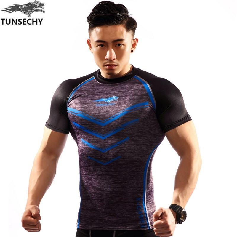 NEW Mens Compression Shirts Bodybuilding Skin Tight Short Sleeve Jerseys TUNSECHY brand Crossfit Outdoor sports bike t Shirt 66