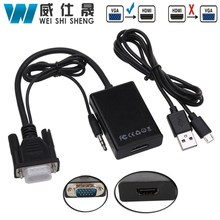 VGA to HDMI Converter Adapter Output 1080P HD with Audio VGA2HDMI TV AV to HDTV Video Cable Converter Adapter for TV PC(China)
