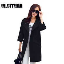 OLGITUM HOT SALE! 2017 New Fashion Women Spring Coat  Female O-Neck  Quarter Sleeve Women Trench Coat Women Long Coat